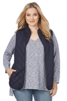 Plus Size - Beme Sleeveless Polka Lined Vest
