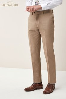 Next Signature Cotton Blend Suit: Trousers - Tailored Fit
