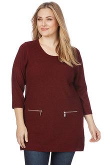 Plus Size - Beme 3/4 Sleeve Zip Pocket Tunic
