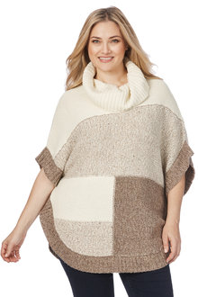 Plus Size - Beme Colour Block Poncho