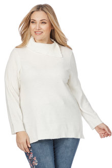 Plus Size - Beme Longsleeve Roll Neck Jumper