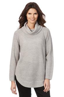 W.Lane Zip Trim Cowl Long Sleeve Sweater