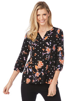 Rockmans 3/4 Sleeve Floral Spot Print Top