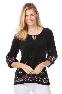 Rockmans 3/4 Sleeve Velour Embroidered Top