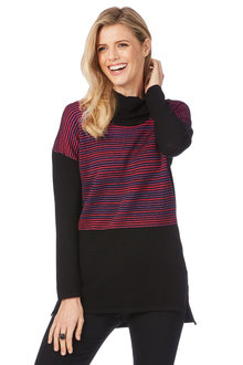 Rockmans Long Sleeve Ottomon Colour Block Knit