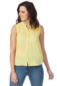 Rockmans Sleeveless Embroidered Detail Shirt - 210245