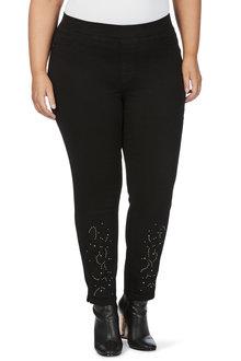Plus Size - Beme Slim Leg Embroidered Jegging