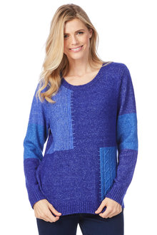 Rockmans Long Sleeve Round Neck Spliced Knit