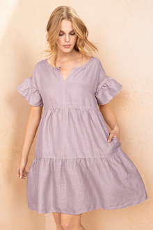 Emerge Tiered Linen Dress - 210342
