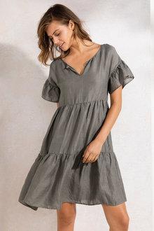 Emerge Tiered Linen Dress - 210342