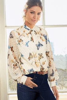 Together Printed Knot Detail Top