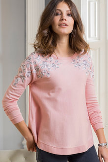Together Embroidery Detail Sweater - 210361