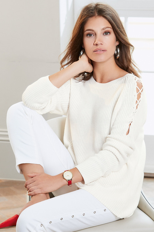 Together Tie Up Cold Shoulder Sweater