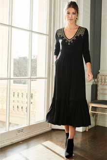 Together Embroidered Tiered Jersey Dress - 210371