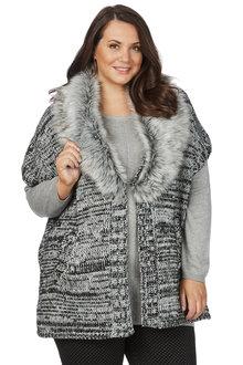 Plus Size - Beme Elbow Sleeve Multi Yarn Cardigan