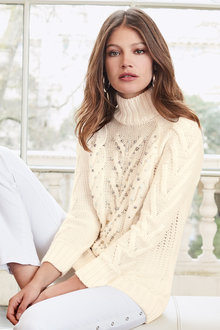Together Pearl Cable Knit Sweater