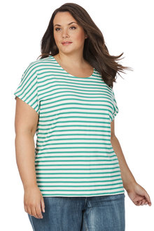 Plus Size - Beme S/S Stripe Metallic Knit Top