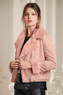 Together Faux Fur Biker Jacket