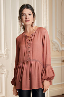 Together Tie Front Blouse - 210402