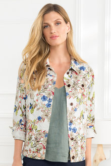 Grace Hill Printed Denim Jacket