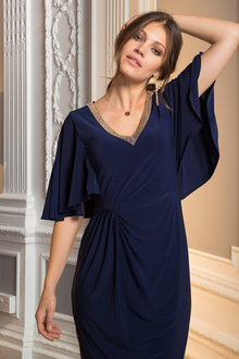 European Collection Beaded V Neck Dress - 210405