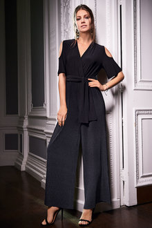 Together Pleated Cold Shoulder Jumpsuit