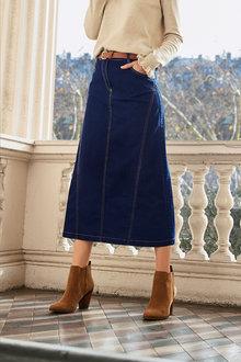 Together A-Line Denim Midi Skirt