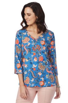 Rockmans 3/4 Sleeve Blue Floral Print Top