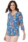 Rockmans 3/4 Sleeve Blue Floral Print Top