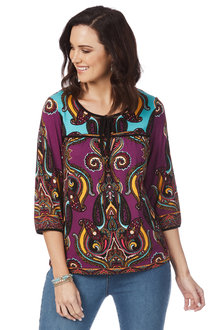 Rockmans 3/4 Sleeve Contrast Yoke Print Top