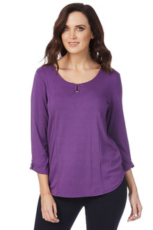 Rockmans 3/4 Sleeve Neck Detail Top