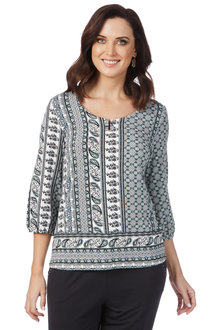 Rockmans 3/4 Sleeve Tile Print Top - 210459