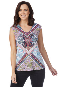 Rockmans Extended Sleeve Mosaic Print Top