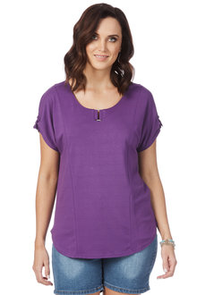 Rockmans Extended Sleeve Neck Detail Top