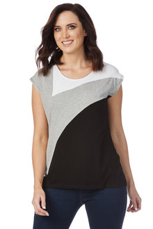 Rockmans Extended Sleeve Spliced Urban Top