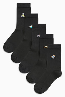 Next Dog Motif Ankle Socks Five Pack