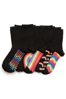 Next Rainbow Footbed Pattern Ankle Socks Five Pack