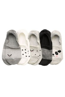 Next Panda Pattern Invisible Trainer Socks Five Pack