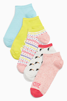 Next Bright Slogan/Pattern Trainer Socks Five Pack