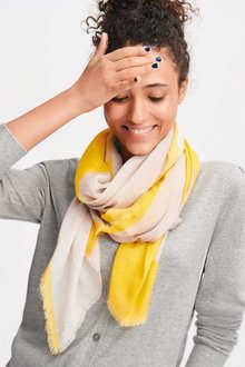 Next Yellow/Grey Star Print Scarf