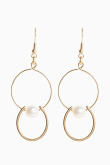 Next Pearl Effect Circle Drop Earrings