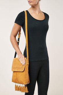 Next Leather Fringe Messenger Bag