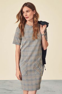 Next Check Shift Dress - Petite - 210706