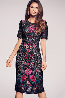 Kaleidoscope Embroidered Lace Shift Dress