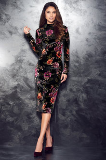 Kaleidoscope Floral Velour Dress - 210806