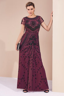 Kaleidoscope Beaded Long Evening Gown