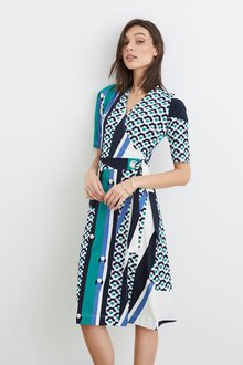 Next Geo Wrap Dress - Petite