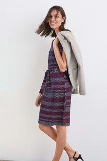 Next Belted Jacquard Dress - Petite