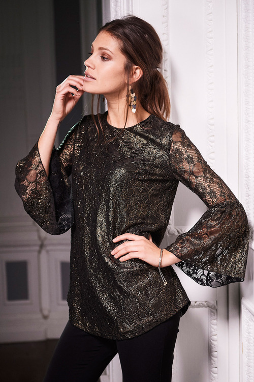 European Collection Stretch Lace Flute Sleeve Top