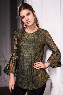 European Collection Stretch Lace Flute Sleeve Top - 210938